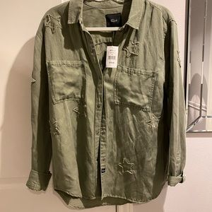 Army green button top